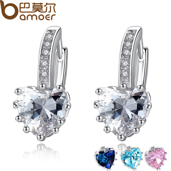 2016 New Arrival Silver Color 4 Color Stones Heart Shape Trendy & Elegant AAA Zircon Stud Earring for Party n Gift YIE095