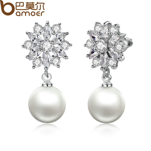 BAMOER Silver Color Simulated Pearl Earrings Drop Earrings Engagement Jewelry JIE069-WH