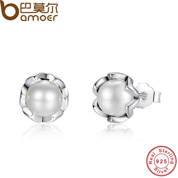 BAMOER 925 Sterling Silver Cultured Elegance Stud Earrings With White Freshwater Cultured Pearl Sterling Silver Jewelry PAS420