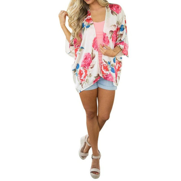 2017 Summer Blouse Women Fashion kimono Floral Prited Open Cape Casual Half Sleeve Coat Loose Blusa Cardigan Pink