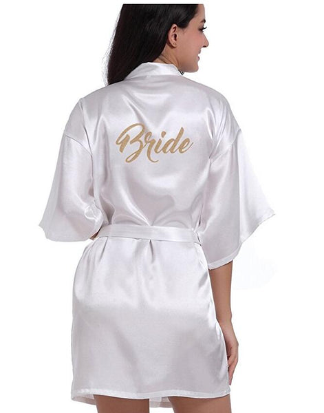 Bridal Party Robes with Gold Lettering