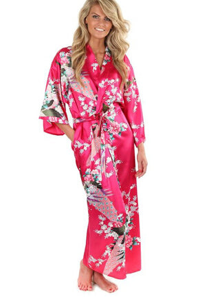 de4164714e Floral Bridesmaids Long Kimono Robe Bride Silk Robe Dressing Gown