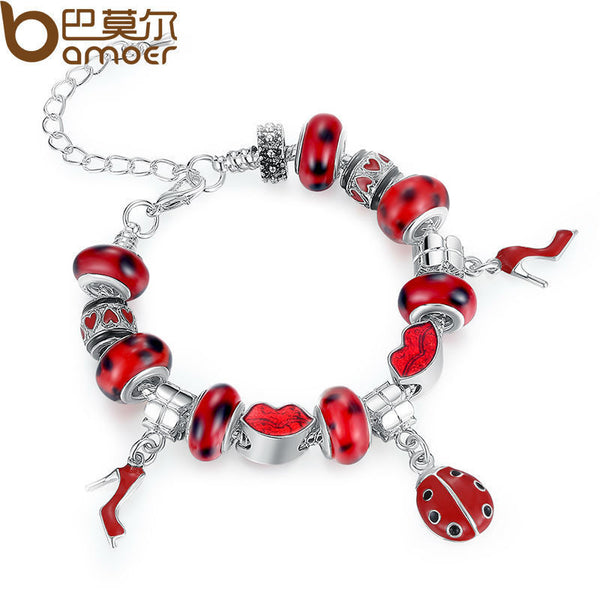 Charm Bracelet for Women With Murano Glass Beads DIY Jewelry PA1198