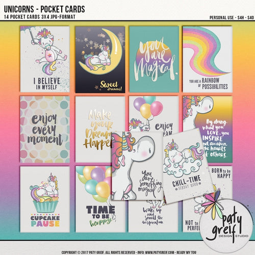 Unicorns - Pocket Cards 3x4