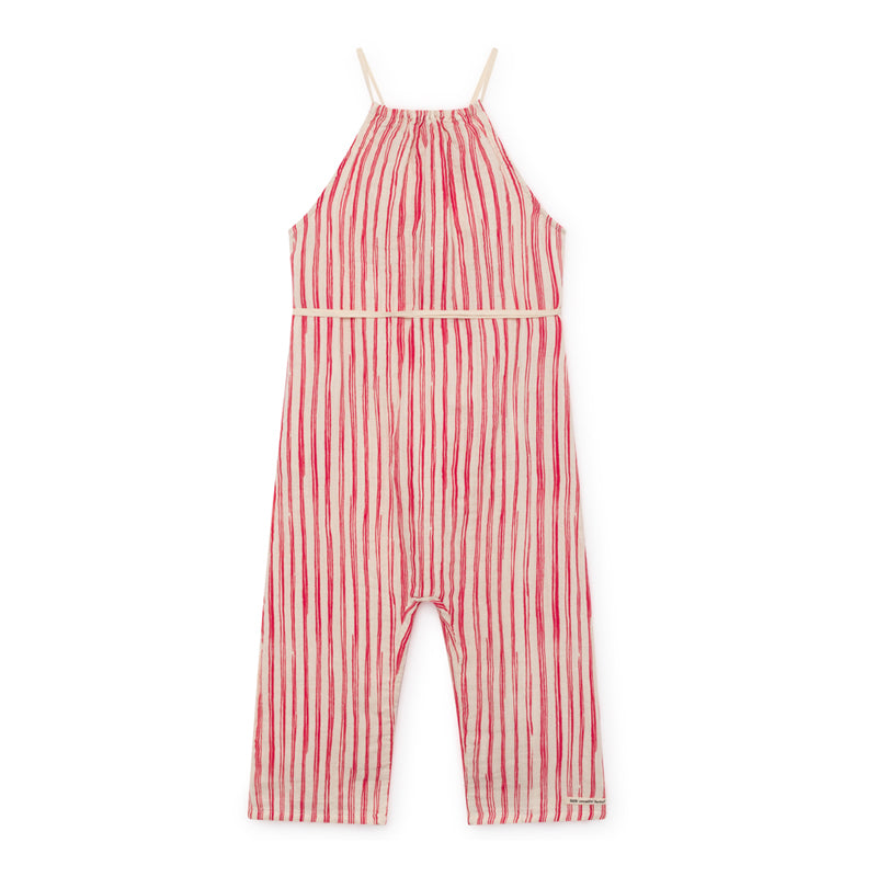 little creative factory - BAMBOO STRIPED JUMPSUIT - Red Stripe