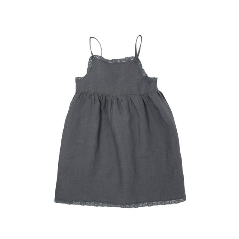 Babe & Tess - LACE SLIP DRESS - Charcoal
