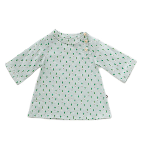 oeuf - LONG SLEEVE DRESS - Leek Print