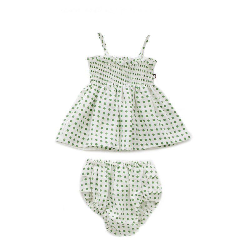 oeuf - RUFFLE BLOOMER SET - White/Green Dot