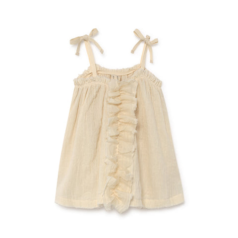 little creative factory - baby muslin ruffle sundress - Cream