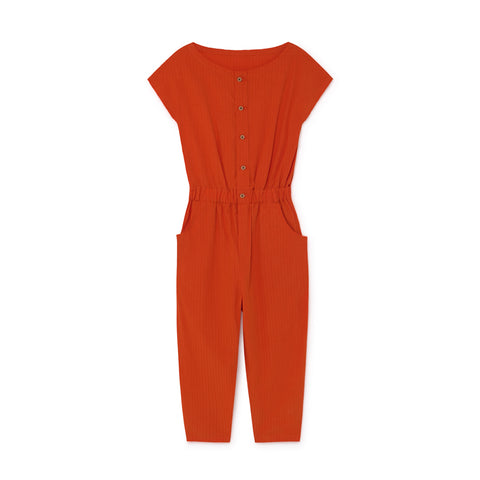 CRUSHED COTTON JUMPSUIT - Orange