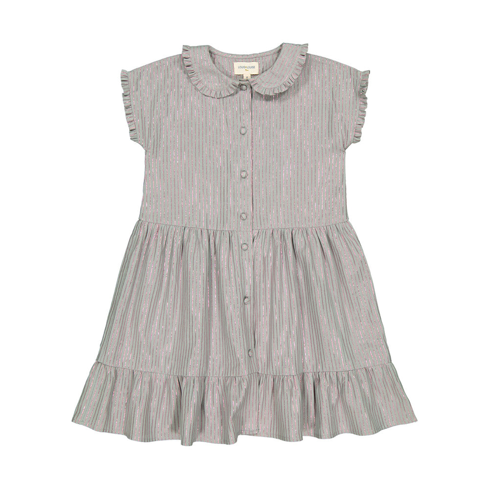 louis louise - DRESS NIKITA - Light Green/Lurex stripe