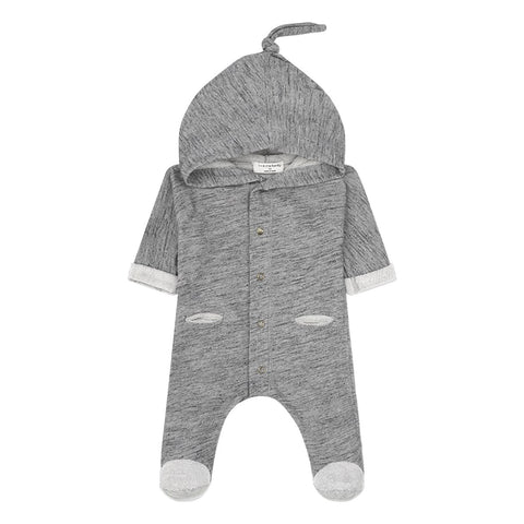 1+in the family - ELLER HOODED FOOTED JUMPSUIT - Grey Melange