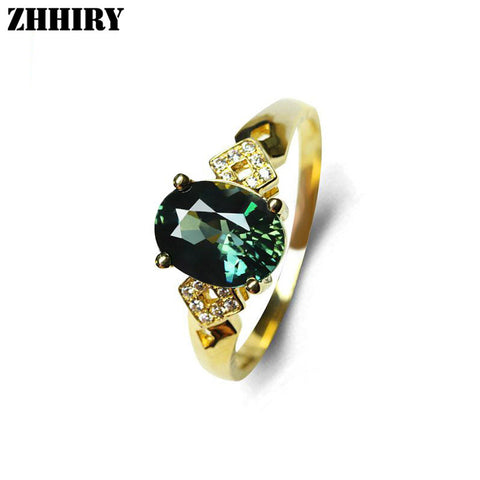 Genuine 18K Yellow Gold Ring Natural Green Sapphire