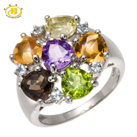 100% Natural Multi-color Gemstones Solid 925 Sterling Silver Ring