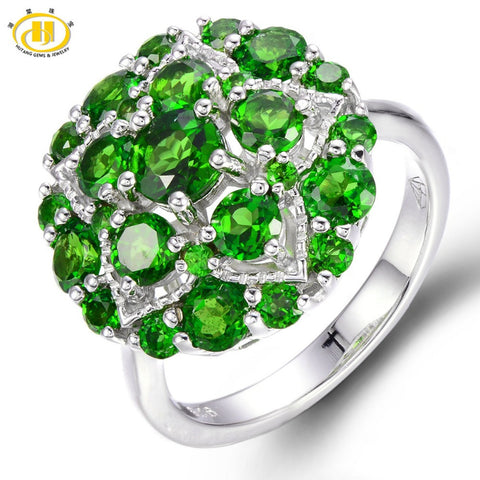 3.2CTW Natural Chrome Diopside Cluster Ring Solid 925 Sterling Silver
