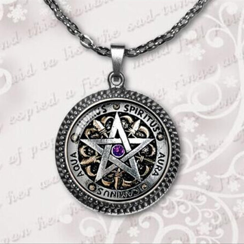 Wiccan  Pentagram  Glass Dome Pendant