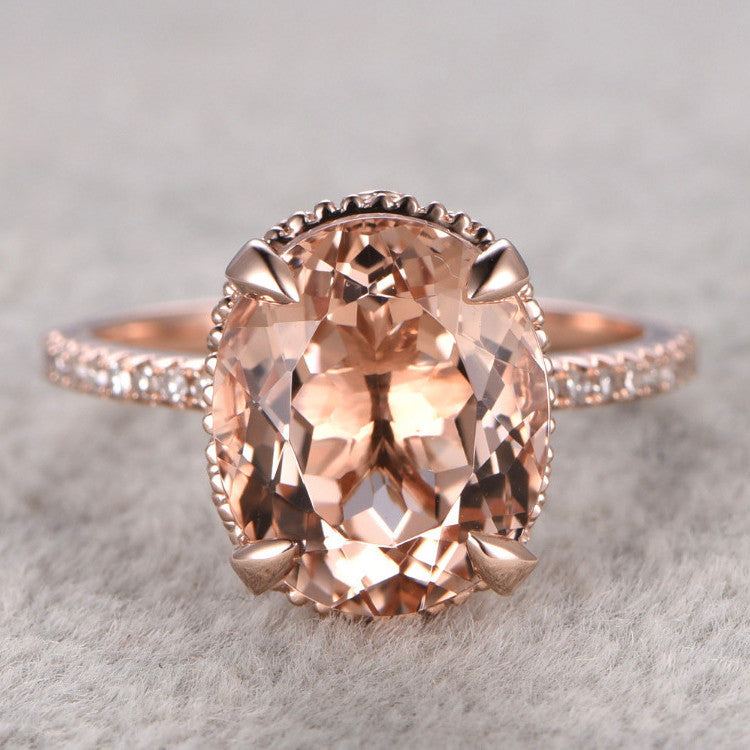 Oval Cut Morganite 4.5ct   Ring 14k Rose Gold White Topaz Side Stone