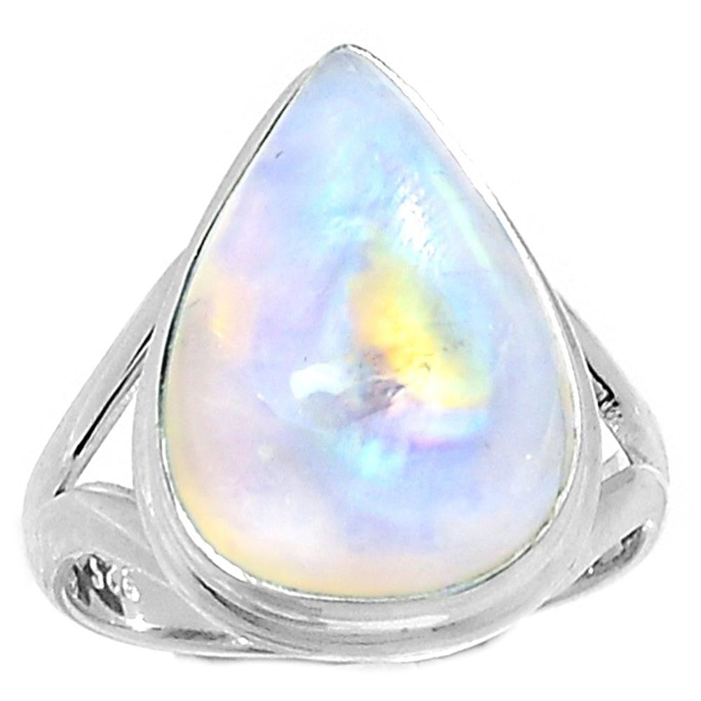 Lovegem Genuine Rainbow Moonstone Ring 925 Sterling Silver,Size:8.75, AR2046