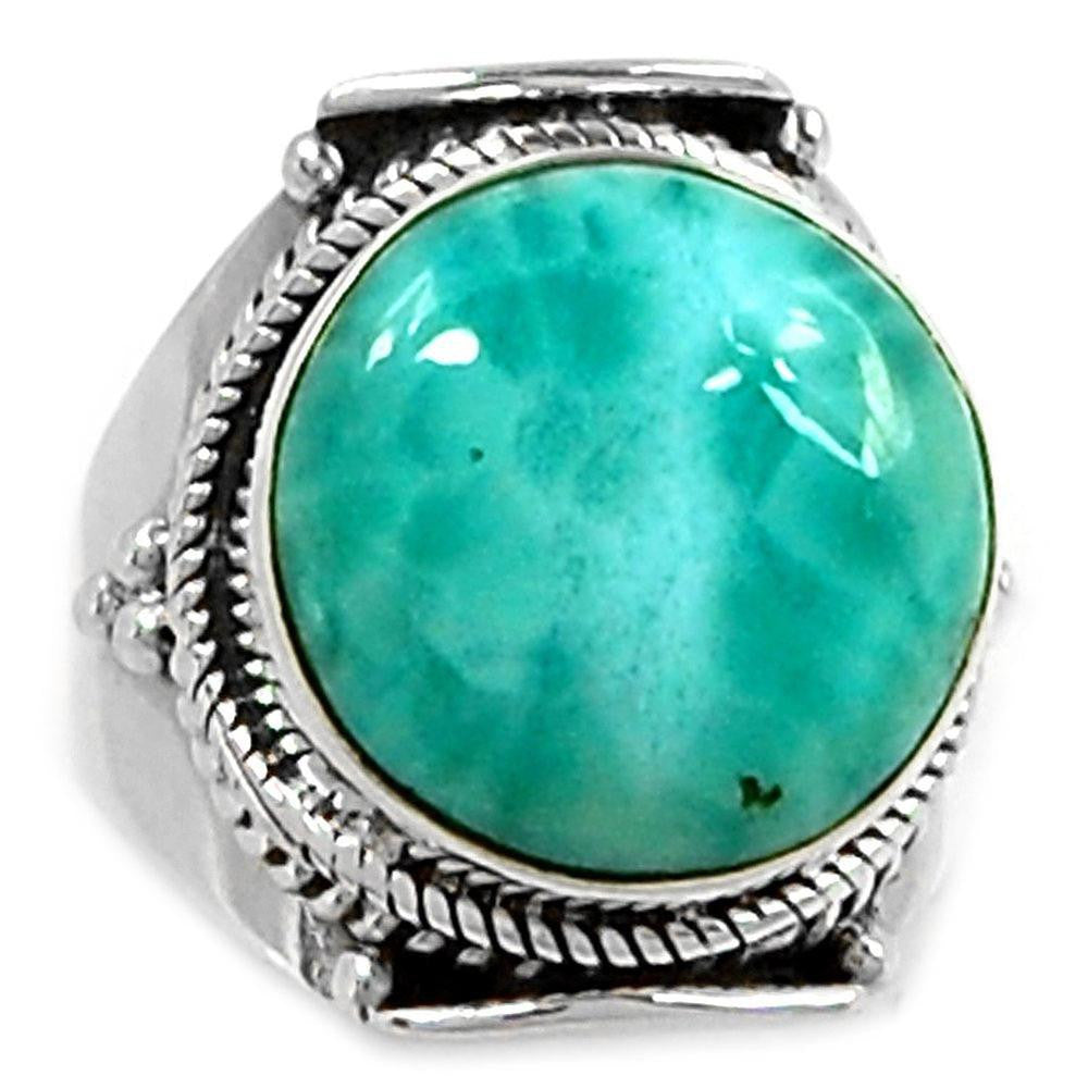 Lovegem Genuine Larimar Ring 925 Sterling Silver,Size:8, AR1109