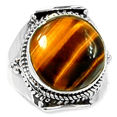 Genuine Tiger Eye Ring 925 Sterling Silver,Size:S