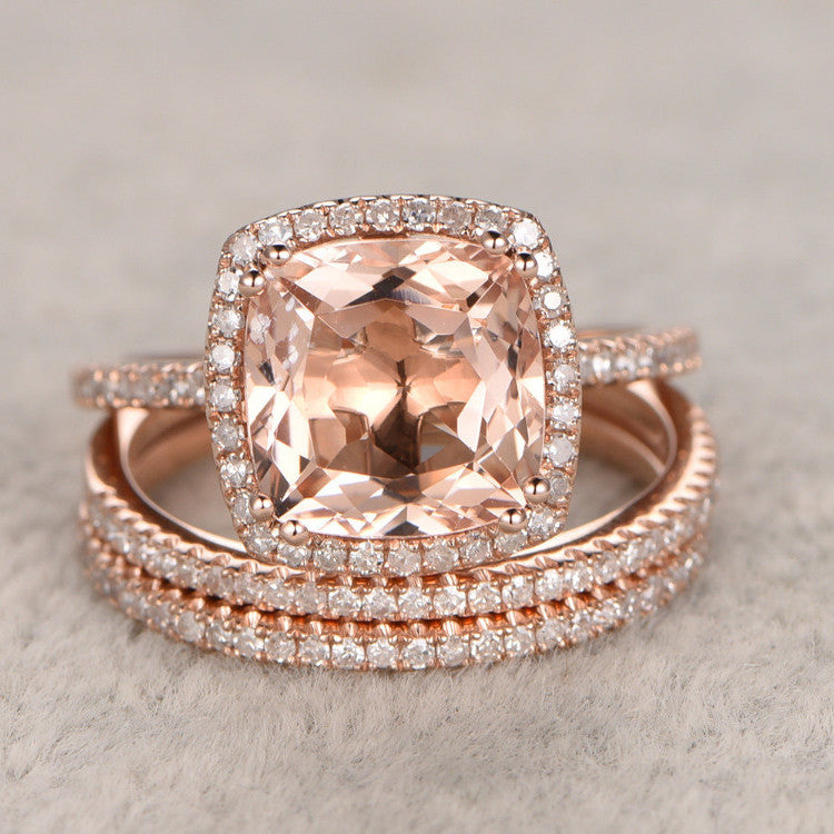 22ct morganite engagement ring set 14kt rose gold wedding set white topaz side stones - Rose Gold Wedding Ring Set