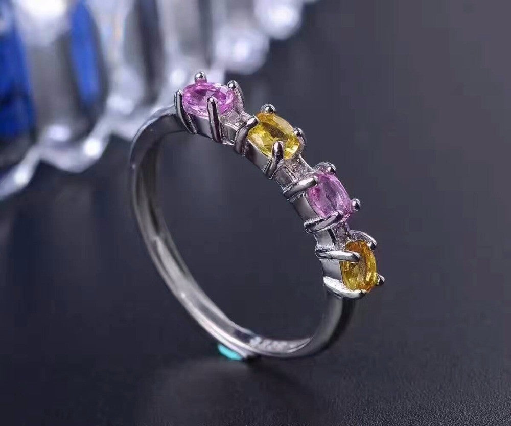 100% natural yellow and purple sapphire ring 1.2 ct  solid 925 silver