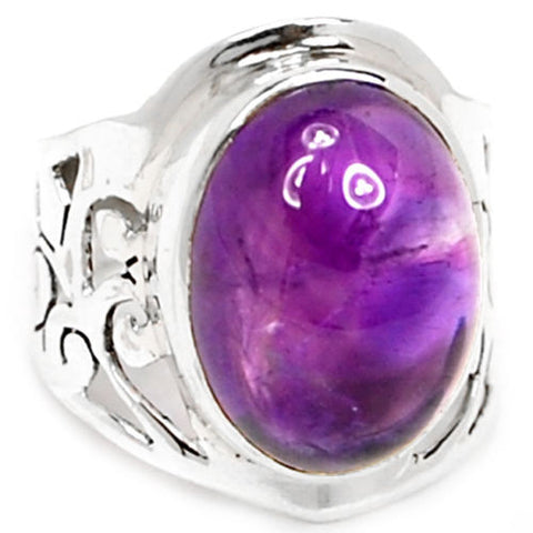 Genuine Amethyst Ring 100%  925 Sterling Silver , Size:8