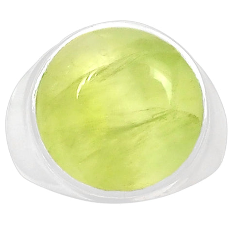Genuine Prehnite Ring 925 Sterling Silver,Size 7