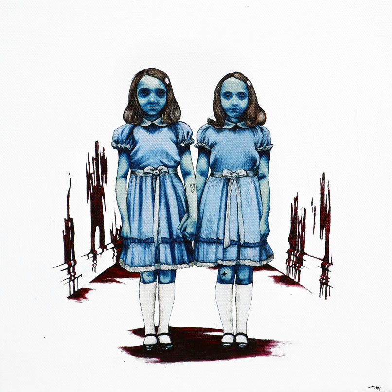 The Grady Twins sign my painting