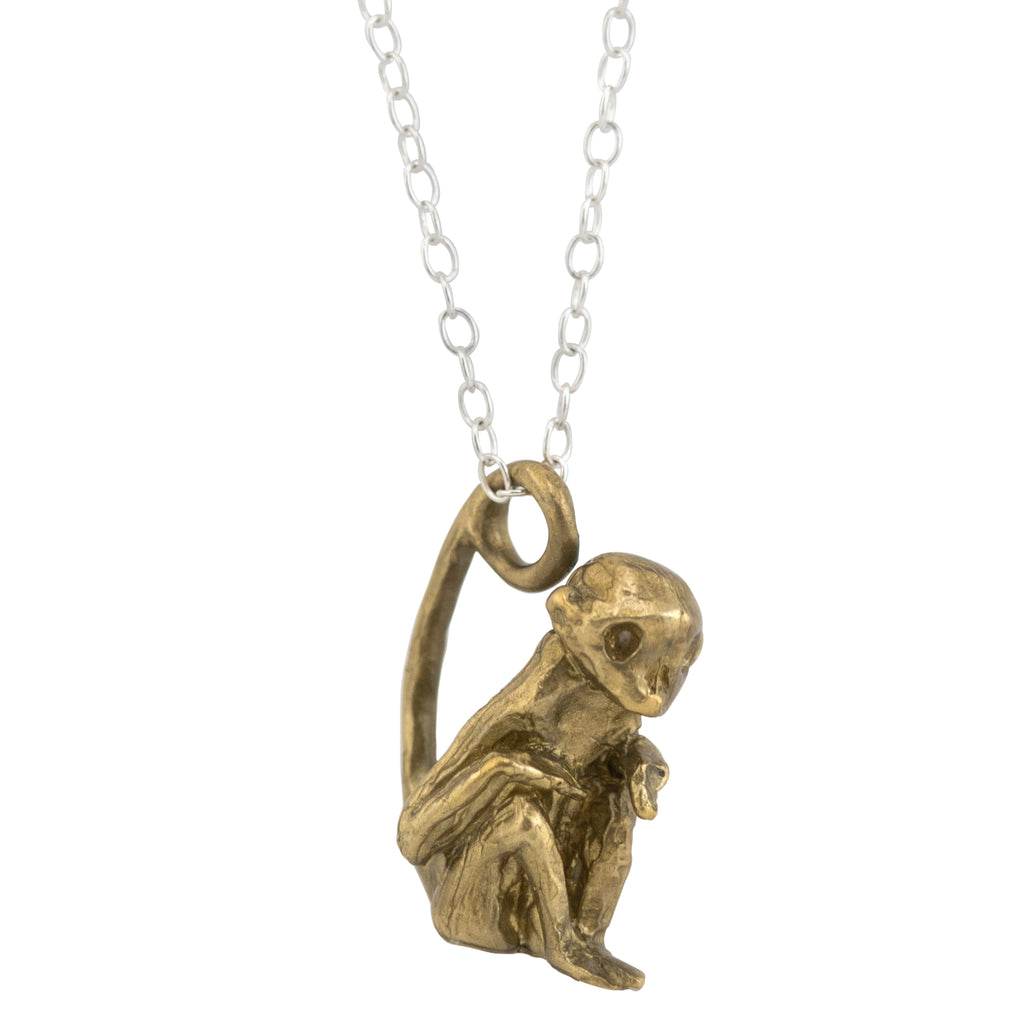 Brass Skull monkey necklace