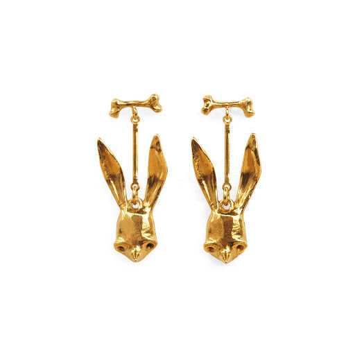 Bone + Sally Mask Drop Gold Earrings