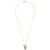 Skull Rabbit Gold Necklace full length with chain