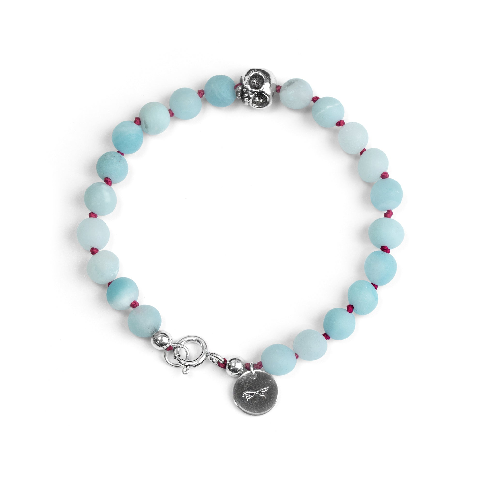 Frosted Amazonite and silver skull bracelet