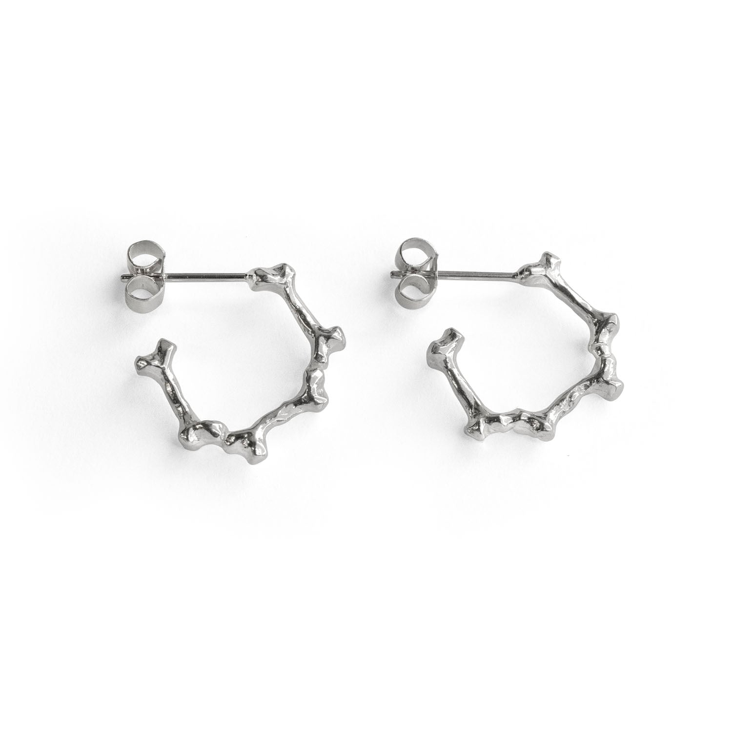 Silver Bone Hoop Earrings