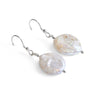 Hand Carved Coin Pearl Earrings