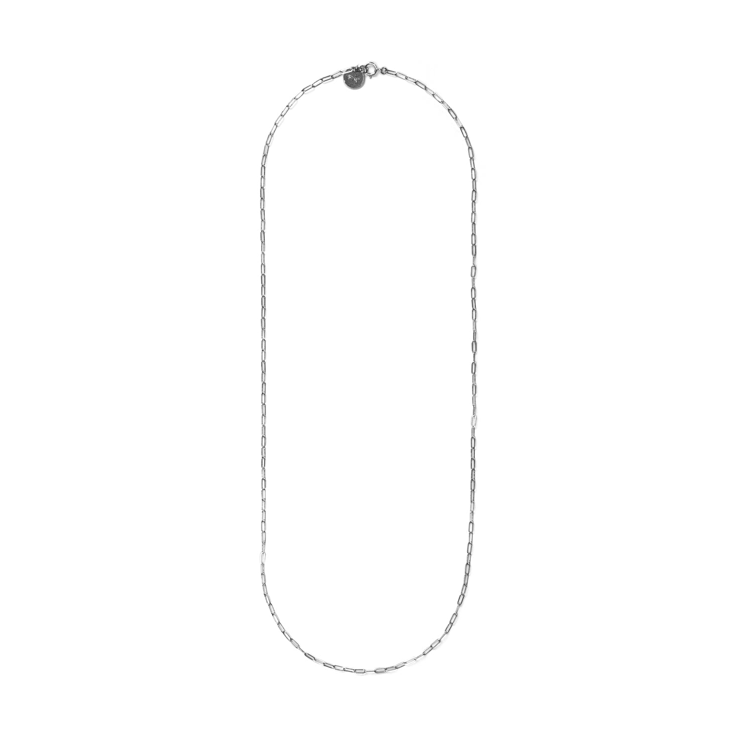 Elongated Link Silver Necklace