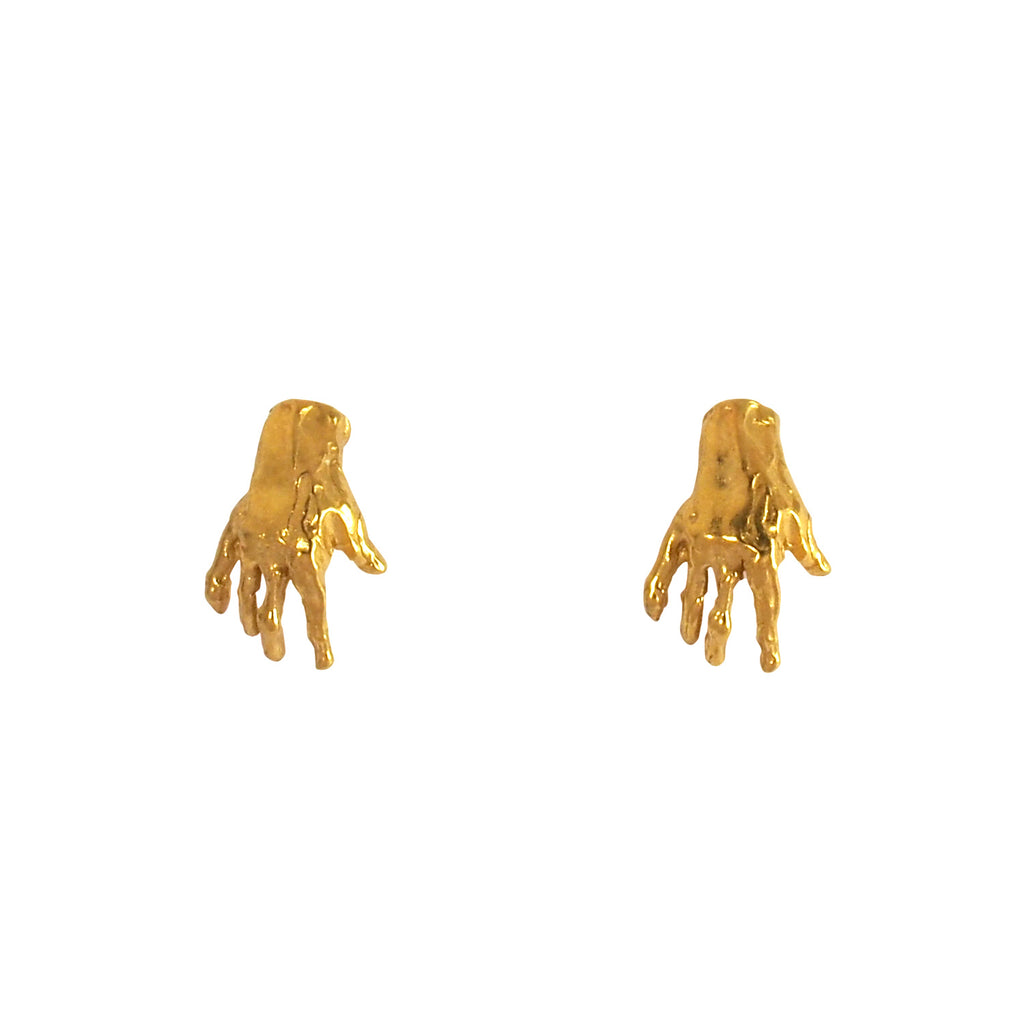 Hand Stud Gold Earrings