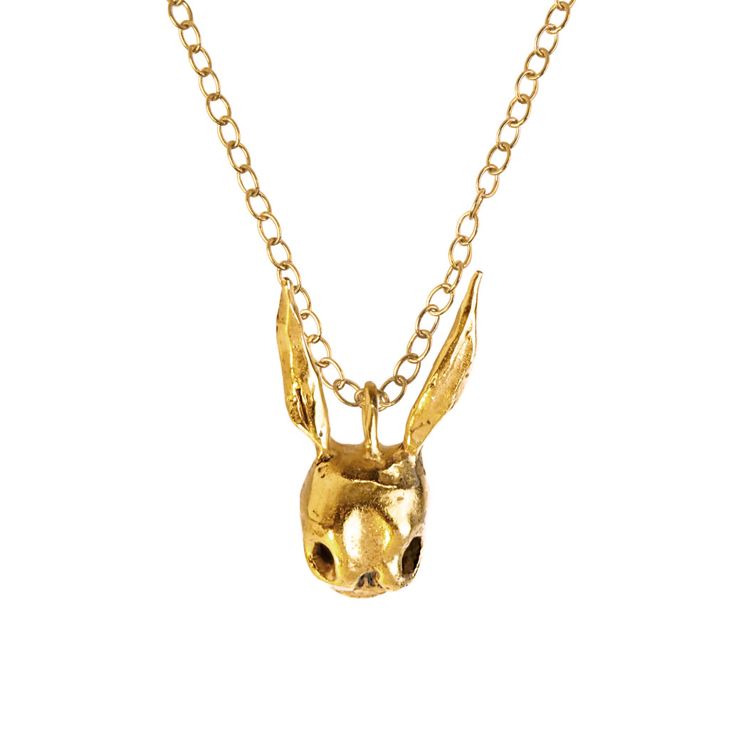 Skull Rabbit Gold Necklace