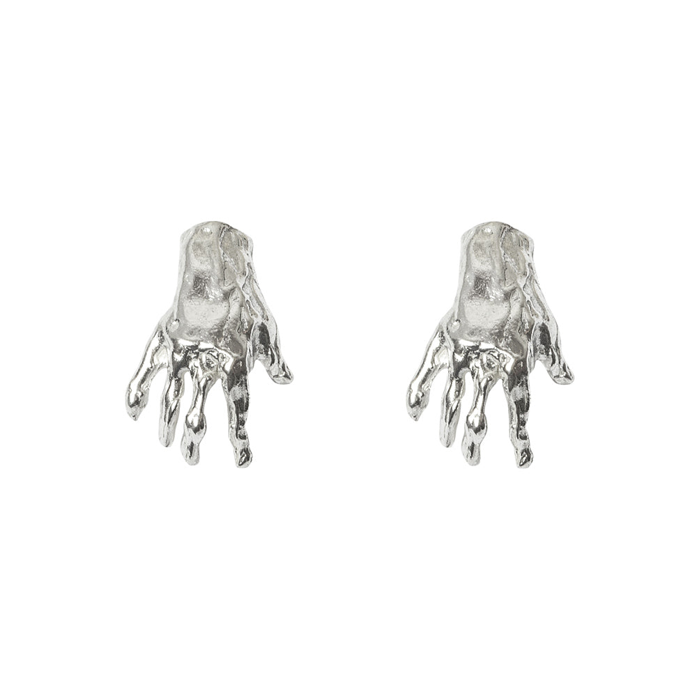 Hand Stud Silver Earrings