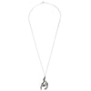 Hanging Horse Silver Necklace full length with chain
