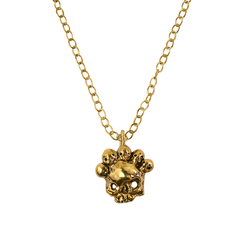 Nameless God Skull Mask Gold Vermeil Necklace