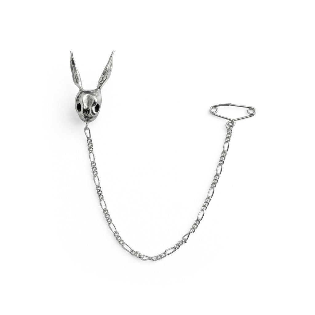 Silver Skull Rabbit pin and safety chain