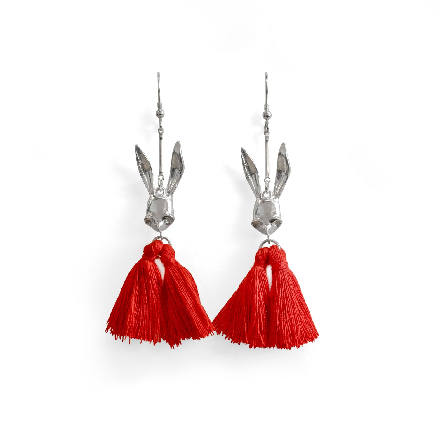 Sally Rabbit Mask Tassel Silver Earrings