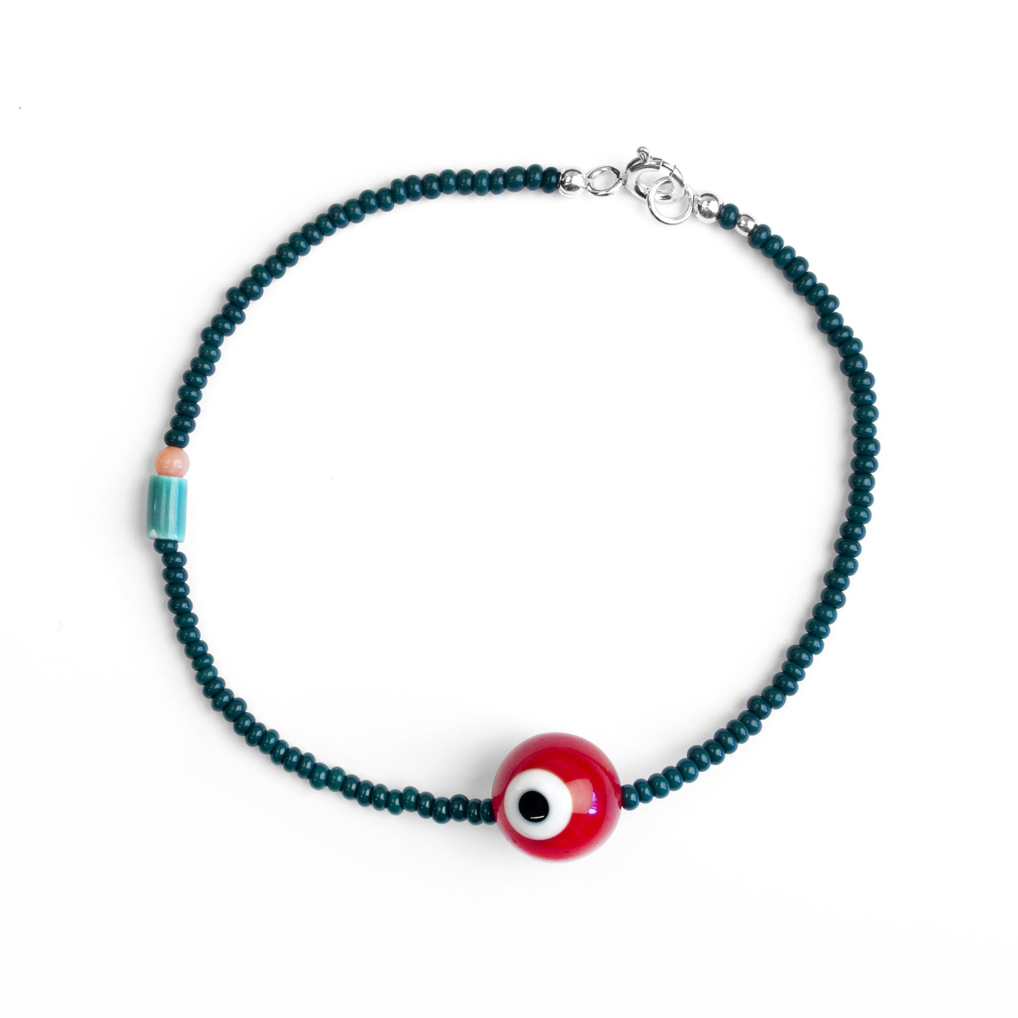 Bloodshot Evil Eye beaded Bracelet