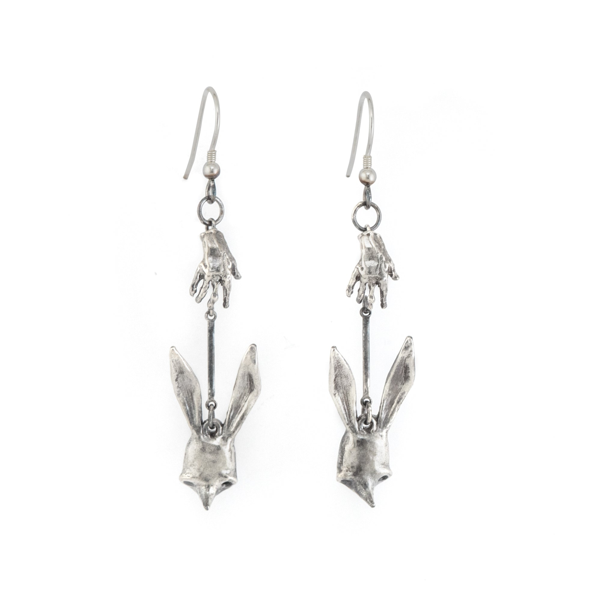Hand + Sally Mask Hook Silver Earrings