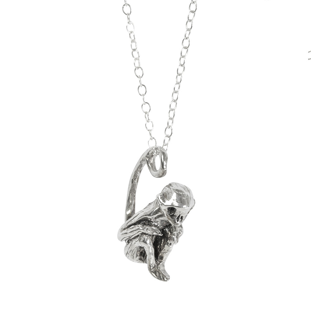 Skull Monkey Silver Necklace
