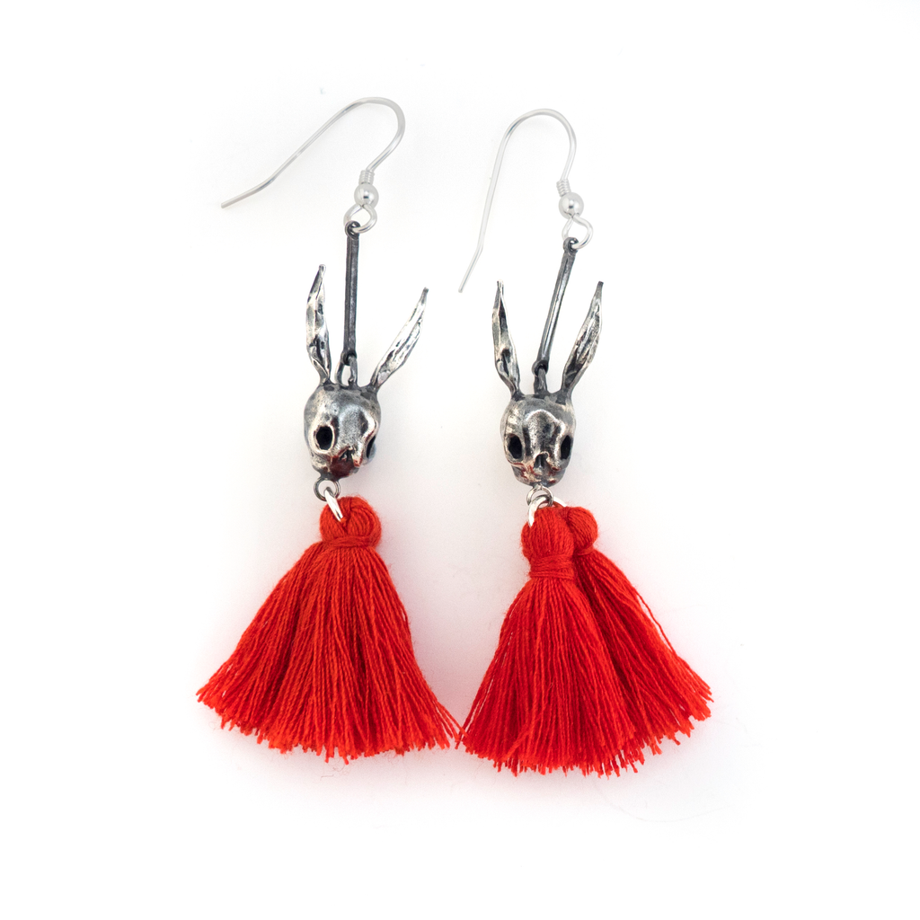 Skull Rabbit Tassel Silver Earrings