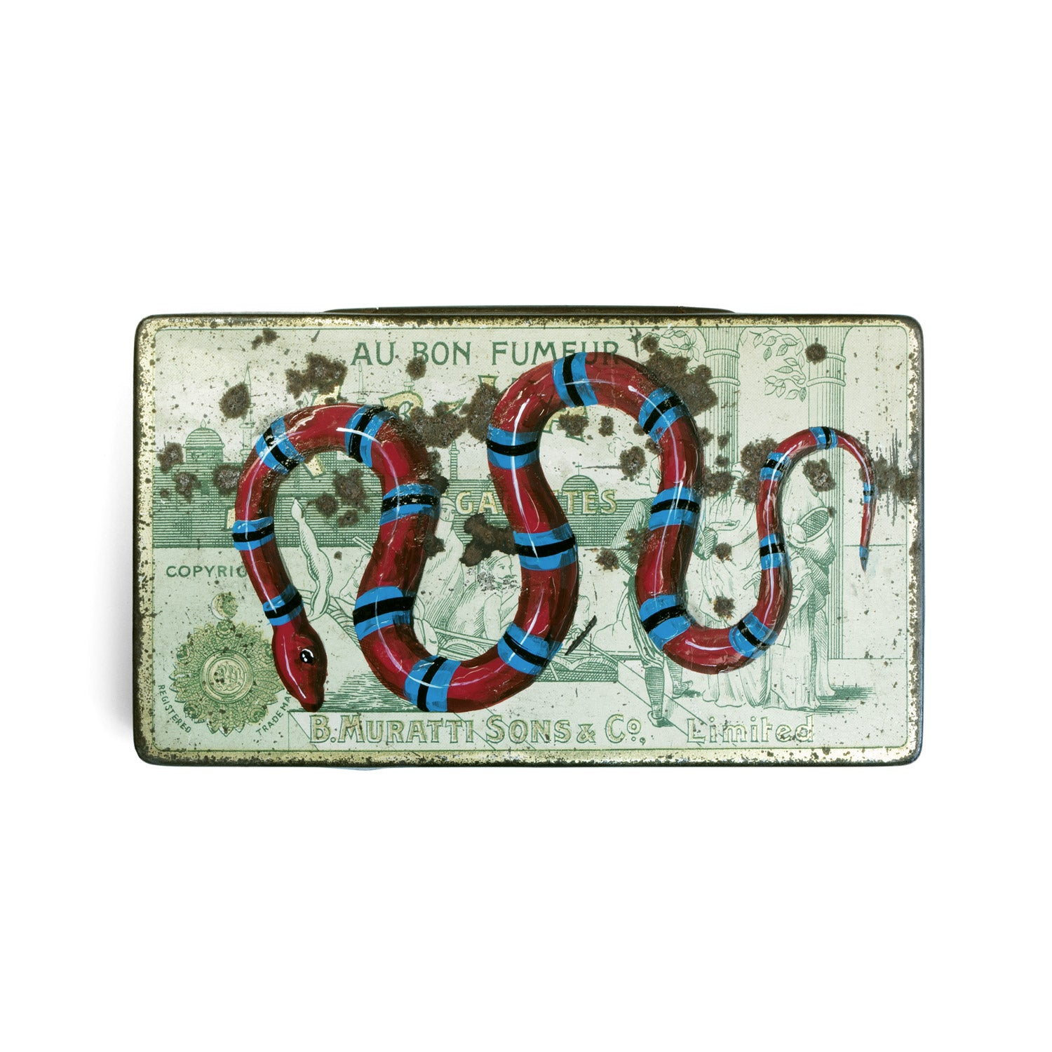 Striped snake keepsake tin