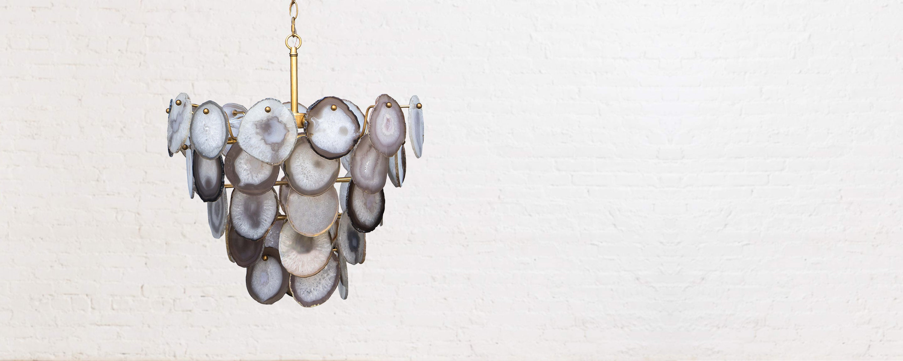 polished gold and agate chandelier