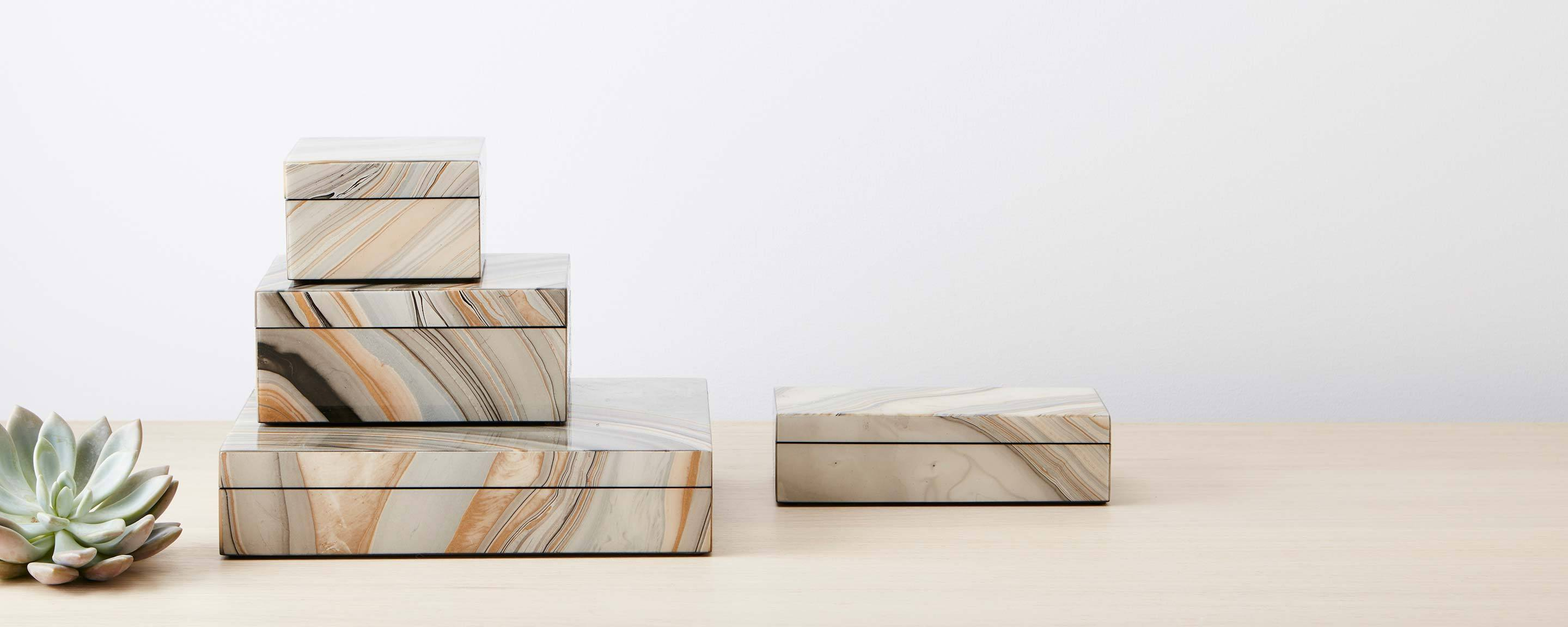 marbleized lacquer boxes